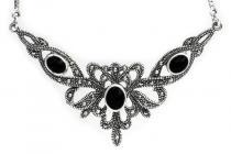 Mittelalter-Collier ~ ALADRIA ~ h: 4.3 cm - Gothic-Halsschmuck - Steam Punk Design mit Onyx - Vintage Silber - Windalf.de