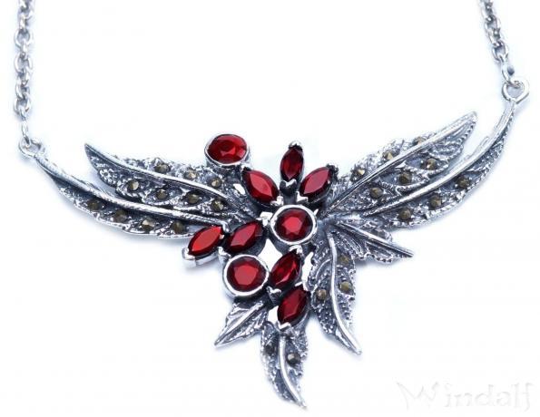 Mediaval Vintage Collier ~ KALIA ~ Gothic - Trachtenschmuck mit zarten Blättern & Roten Steinen - Silber - Windalf.de