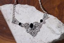 Halskette ~ ALINA ~ Onyx - Gothic - Silber - Windalf.de