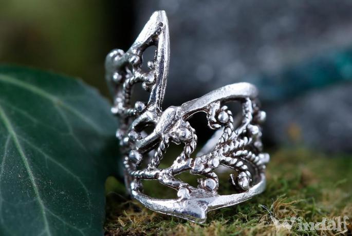 Boho Ohrklemme & Haarschmuck ~ JANINA ~ h: 1.7 cm - Elfenschmuck - Vintage Silber - Windalf.de