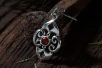 Mittelalter Ohrringe ~ SELINA ~ h: 3.2 cm - Life Spirals - Roter Kristall - Silber - Windalf.de