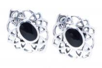 Keltische Ohrringe ~ HARMONY ~ Onyx - Silber - Windalf.de