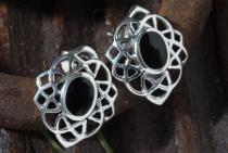 Keltische Ohrringe ~ HARMONY ~ 1.5 cm - Schwarzer Onyx - Silber - Windalf.de