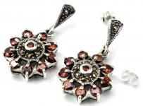 Damen Ohrringe ~ RUBINA ~ Blume des Mittelalters - Silber - Windalf.de