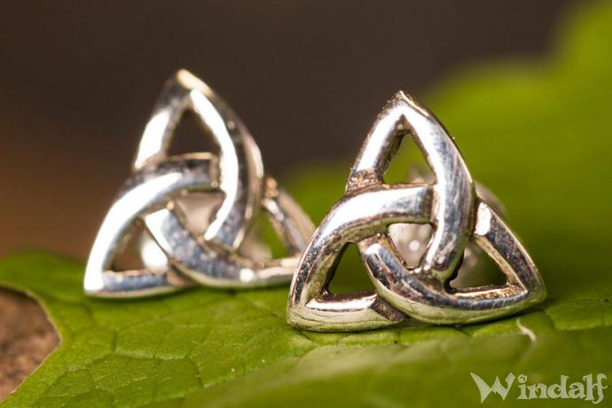 Keltische Ohrringe ~ CELTIC TRIAD ~ h: 0.8 cm - Boho Ohrstecker - Silber - Windalf.de
