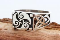 Celtic Siegel Ring ~ TRISANA ~ h: 1 cm - Keltische Triskele - Silber - Windalf.de