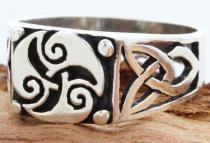 Celtic Siegel Ring ~ TRISANA ~ 10 mm - Keltische Triskele - Vintage Silber - Windalf.de
