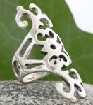 Langer Mittelalter Ring ~ NARICA ~ h: 4,2 cm - Lebensspiralen - Silber - Windalf.de