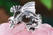 Drachen Ring ~ NOCTUR ~ Drache des Feuers - Vintage Silber - Windalf.de