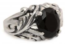 Mittelalter-Ring ~ MANJA ~ 1.1 cm - Schwarzer Kristall - Silber - Windalf.de