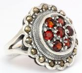 Mittelalter Ring ~ TURÍNA ~ Roter Kristall - Silber - Windalf.de
