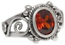 Mittelalter-Ring ~ CULINA ~ 1.3 cm - Spirals - Roter Kristall - Silber - Windalf.de