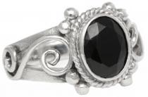 Ring ~ LEONA ~ 1.3 cm - Schwarzer Kristall - Gothic-Schmuck - Silber - Windalf.de