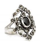 Mittelalter Ring ~ AZUARÎ ~ Schwarzer Kristall - Gothic - Silber - Windalf.de