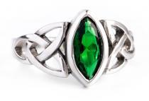 Keltischer Ring ~ ISEA ~ 1.2 cm - Grüner Smaragd - Celtic Irischer Silberring - Windalf.de