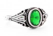 Mittelalter Ring ~ INDIGA ~ 0.9 cm - Dunkelgrüner Kristall - Silber - Windalf.de