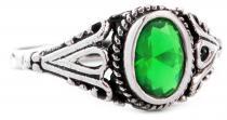 Mittelalter Ring ~ INDIGA ~ 0.9 cm - Dunkelgrüner Kristall - Smaragd - Silber - Windalf.de