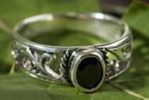 Ring ~ ZAÍLA ~ Schwarzer Kristall - Silber - Windalf.de