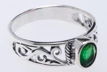 Ring ~ ZAÍLA ~ Grüner Kristall - Silber - Windalf.de