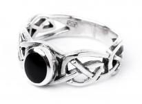 WINDALF Keltischer Ring ~ NORAN ~ h: 0.8 cm - Schwarzer Onyx - 925 Sterlingsilber - Windalf.de