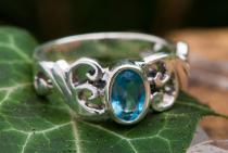 Damen Mittelalter Ring ~ TIÂRA ~ Spirals - Topaz Kristall - Silber - Windalf.de