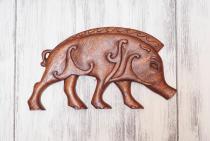 Wandbild ~ BORSTI ~ 37 cm - Keltischer Eber - Rechts schauend - Handarbeit aus Holz - Windalf.de