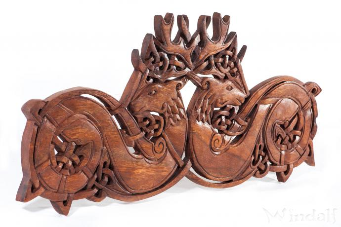 Celtic Wandbild ~ DVALIN ~ b: 55 cm - Keltische Hirsche - Handarbeit aus Holz - Windalf.de