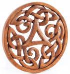 Celtic Wanddeko ~ ALESIA ~ Ø 22 cm - Triskele - Kelten Wandrelief - Geschnitzes Ornament - Holzbild - Windalf.de