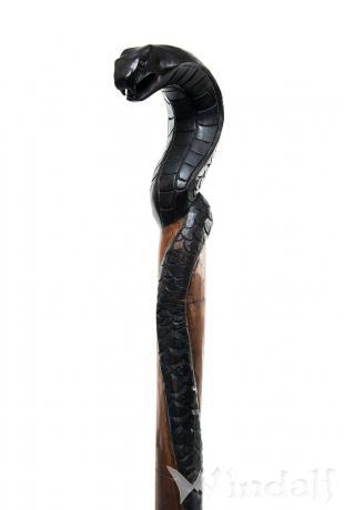 Schwarzer Wanderstab ~ MANDRA ~ h: 1.3 m - Schlange - Handarbeit aus Holz - Windalf.de