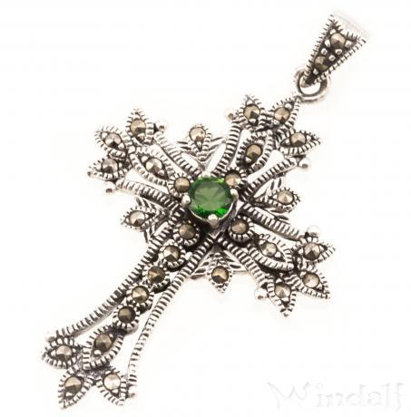 WINDALF Mittelalter Kreuz Schmuck Anhänger ACANTHA 4.5 cm Gothic Grüner Kristall Silber