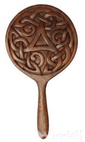 Handspiegel ~ ALESIA ~ h: 28.5 cm - Triskele - mit keltischen Knoten - Handarbeit aus Holz - Windalf.de