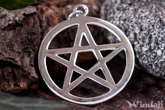 Großes Pentagramm Schmuck Anhänger 925er Silber