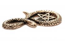 Pagan Magic Anhänger ~ SELISA ~ h: 5 cm - Schlange & Pentagramm - Schutz & Wunsch Amulett - Bronze - Windalf.de