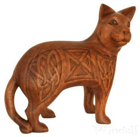 Keltische Holzfigur ~ MANJA ~ h: 25 cm - Keltische Katze - Handarbeit aus Holz - Windalf.de