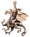 Mittelalter Drachen Anhänger ~ WYVEREX ~ 4.2 cm - Großer Drache - Bronze - Windalf.de