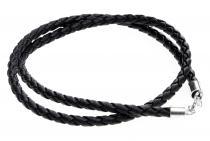 Schwarzes Lederband ~ DVALIN ~ geflochten 4 mm - 45 cm - Silber - Windalf.de