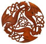 Wandbild ~ ACAR ~ Drei keltische Drachen ~ 30 cm - aus Holz - Windalf.de