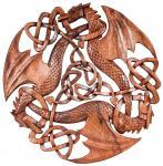 Celtic Wandbild ~ ACAR ~ Ø 30 cm - Drei keltische Drachen - Handarbeit aus Holz - Windalf.de