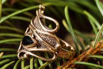 Mittelalter Ring ~ ALIANA ~ Onyxzauber - Bronze - Windalf.de