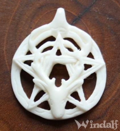 Pagan Schmuck-Anhänger ~ DUNEY ~ Ø 2.7 cm - Schutz Amulett - Pentagramm mit Cernunnos - Knochen - Windalf.de