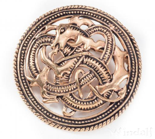 Wikinger-Fibel ~ ASKIM ~ Feuerdrache ~ Vikings - Mittelalter-Fibel - Bronze - Windalf.de