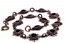 Mittelalter Armkette ~ LANIÁ ~ 19 cm - Schwarzer Onyx Armband - Bronzekette - Windalf.de