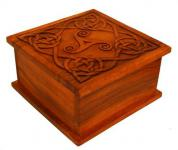 Aufbewahrungs Holzkiste ~ LUCY ~ 25 cm - Celtic Triskel - Ordnungsbox - Soarholz - Windalf.de