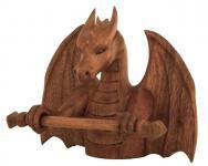 Wikinger Schmuck & Ketten Halter ~ ARCO ~ h: 21 cm - Drachen Deko Figur - Handarbeit aus Holz - Windalf.de