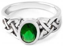 Celtic Ring ~ NALIA ~ 7 mm -  Grüner Smaragd - Vertrauensring - Silber - Windalf.de