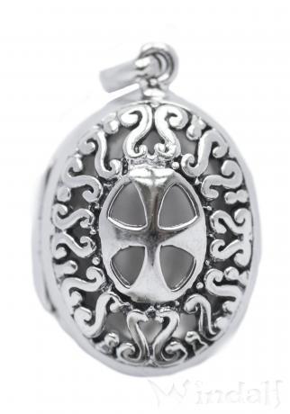 Boho Anhänger ~ KIAN ~ h: 3 cm - Mittelalter-Medaillon mit Fach - Tempelritter - Vintage Silber - Windalf.de
