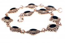 Mittelalter-Armkette ~ MÉDIÉVALE ~ 19 cm - Schwarzer Onyx Armband - Bronzekette - Windalf.de