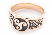 Siegelring ~ THYRION ~ Keltisches Triskel - Bronze - Windalf.de