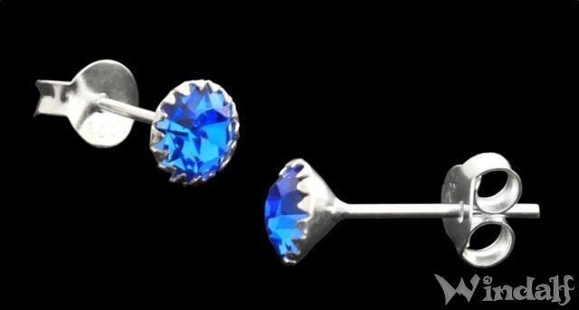 Ohrstecker ~ LUCY ~ Blauer Kristall - 5 mm - Silber - Windalf.de