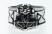 Wikinger Ring ~ THORNTAN ~ Thorshammer mit Runen - Silber - Windalf.de